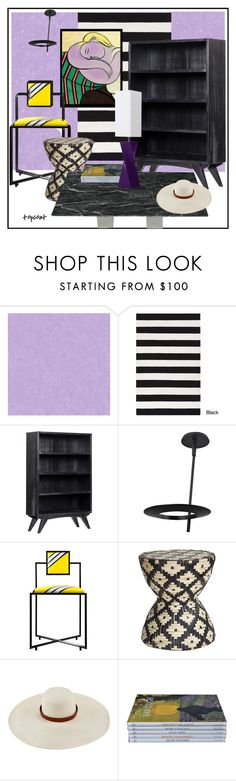 """""""Slow Train Coming"""" by topcoatballet ❤ liked on Polyvore featuring interior, interiors, interior design, home, home decor, interior decorating, York Wallcoverings, Surya, Noir and Sonneman"""