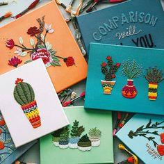 Dica colorida e bordadeira para o dia começar lindo e inspirado: @trueforthaus - amor à primeira e segunda vista! #colainspira #bordado #cactus