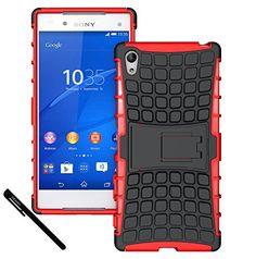 Xperia Z5 Premium Case, OEAGO Sony Xperia Z5 Premium Case Cover Accessories - Tough Rugged Dual Layer Protective Case with Kickstand For Sony Xperia Z5 Premium / Plus (2015 Released) - Hot Red