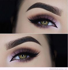 Purple eye makeup for green eyes