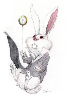 by Bobby Chiu White Rabbit falling, from Alice in Wonderland. Lewis Carroll, Adventures In Wonderland, Alice In Wonderland, Chesire Cat, Alice Madness, Geniale Tattoos, Tim Burton, Picasso, Fairy Tales
