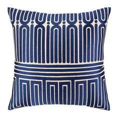 24TT113FC20SQ Trina Turk Garden Maze Blue Embroidered Pillow