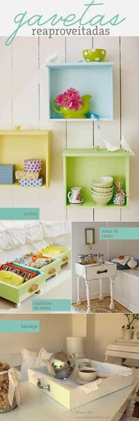 # decoration # Schubladen – Everything in Furniture Projects, Furniture Making, Home Projects, Diy Furniture, Diy Home Decor, Room Decor, Old Drawers, Green Drawers, Diy Casa