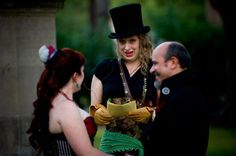 Steampunk Bride and Groom with Officiant