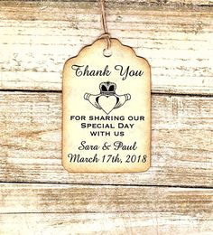 CLADDAGH Irish/Celtic Tags - CUSTOM Thank you Tags-Liquor Bottle Tags/ Gift Tags/Shower/Wedding Favor Tags/Party favor tags