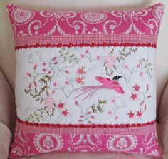 """Machine embroidery cushion using """"After the rain"""" design set you can see the embroidery set at  http://www.stitchingart.com"""