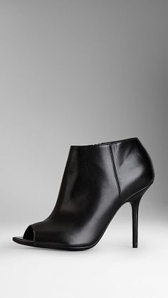 Peep-Toe Leather Ankle Boots | Burberry