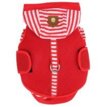 Authentic Puppia Twosome Harness and Hooded Shirt All-in-1, Red, Small