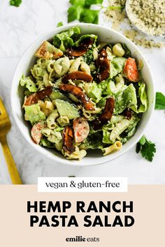 This vegan pasta salad is coated in a creamy homemade dairy-free ranch made with hemp seeds. It's one of my favorite pasta salad recipes and is the best for an easy summer meal that makes for the perfect picnic food or a delicious bbq side! Vegan Party Food, Vegetarian Recipes Dinner, Clean Recipes, Easy Healthy Recipes, Easy Dinner Recipes, Healthy Food, Vegan Dinners, Pasta Recipes, Salad Recipes