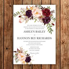 Bohemian Wedding Invitation Fall Wedding Invite by BettyLuDesigns