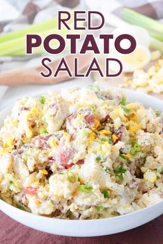 Red Potato Saladis side dish perfect for feeding a crowd! Red Potatoes are mixed with hard-boiled eggs, celery, and green onions, coated in a simple dressing of sour cream, mayonnaise, and dijon mustard, and finished off with a sprinkle of tangy dill. It's best served at BBQ's, potluck parties, and holiday gatherings! #potatosalad #redpotatoes #redpotatosalad #sidedish #potluckrecipes #feeding a crowd #potatorecipes
