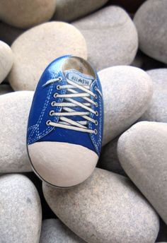 Hand painted stone Blue ALL STAR !  A great handmade painted stone from me!    Is painted on a smooth sea stone which i have collected from a beach
