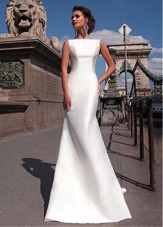 Satin Mermaid Wedding Dresses 2018 Bateau Boat Neck Sleeveless ...