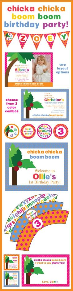 Chicka Chicka Boom Boom is a well loved book in this house - both of my kids ask me to read it often. With all of those read throughs I. Alphabet Birthday, Alphabet Party, Abc Birthday Parties, Birthday Ideas, Twin First Birthday, Baby Birthday, Bookworm Party, Chicka Chicka Boom Boom, Luau Party