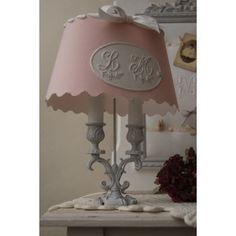 lampe Bouillotte  Abat Jour Rose  Monogramme (paire possible)