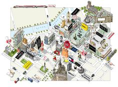 illustrated map of Manchester for Vogue Magazine pull out map