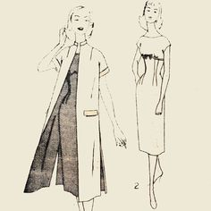 Vintage 50s Dress Pattern KIMONO Duster COAT & by ScarlettsVault