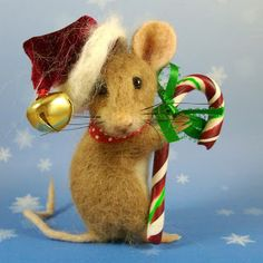 Needle Felted Christmas mouse by Robin Joy Andreae