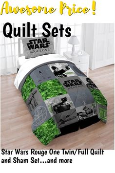 Star Wars Rouge One Twin/Full Quilt and Sham Set ... (This is an affiliate link) #quiltsets