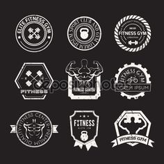 Retro stamp-style fitness logos in one colour. Click through for more gym, yoga, and fitness logo ideas...
