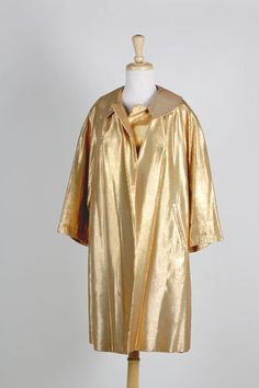 Holiday Vintage 1950's  Gold Lame Hollywood Premier  Evening Coat by BuffaloGalVintage on Etsy