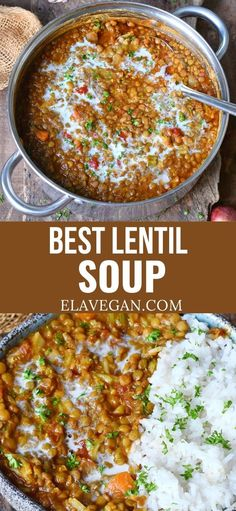 Best Lentil Soup Recipe, Vegetarian Lentil Soup, Lentil Stew, Lentil Recipes, Vegetarian Recipes, Healthy Recipes, Whole Food Recipes, Cooking Recipes, Slow Cooker Lentils