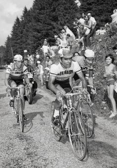 Agostinho leading the 1972 Tour de France. Behind him are Raymond Poulidor and Lucien van Impe.