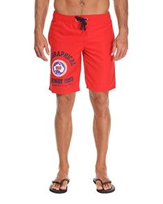 Geographical Norway Shorts da Bagno [Nero/Rosso]
