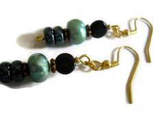 Sea Green Earrings, Freshwater Pearl Earrings, Dark Gray Earrings, Teal and Black Earrings, Czech Glass Earrings, Copper Earrings