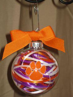 CLEMSON Handmade Glass Ornament by ScrapsandFlowers on Etsy, $12.00