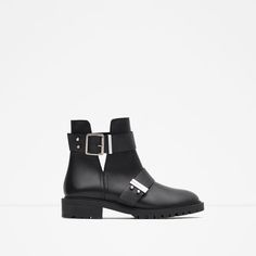 ZARA - COLLECTION SS16 - LEATHER BIKER BOOTS WITH BUCKLES