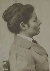 1901 mugshot of Laura Bullion (October 1876 – December 2, 1961), outlaw and member of Butch Cassidy's Wild Bunch gang. In 1901, she was convicted for her part in the Great Northern train robbery and went to prison. She was released in 1905 and gave up her life of crime, moving to Memphis, Tennessee and becoming a seamstress. She died of heart disease in 1961.