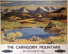 The Cairngorm Mountains Scottish Railway Travel Poster by British Railways