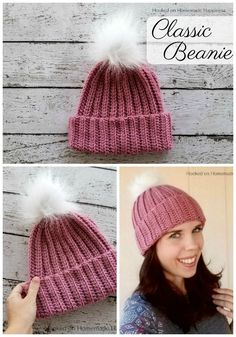 crochet hats This Classic Beanie Crochet Pattern has a classic design, but is made a little differently than your typical crocheted hat. It's worked as a rectangle and then sewn into a ha Ribbed Crochet, Love Crochet, Crochet Baby, Double Crochet, Crochet Dolls, Beanie Pattern Free, Crochet Beanie Pattern, Easy Crochet Hat Patterns, Doll Patterns