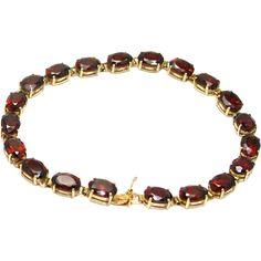 Vintage 14 Karat Yellow Gold Garnet Bracelet - Oval Almandine Garnet Stone Tennis Bracelet Jewelry