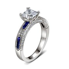 Blue And White Cubic Zirconia White Gold Plated Engagement Ring Various Sizes