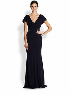 Badgley Mischka - Cap-Sleeve Beaded Jersey Dress - Saks.com
