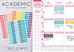 [ A B O U T ]    Organize your student planner or calendar with these DIY printable stickers! Perfect for your Day Designer, Erin Condren, Filofax, or