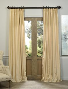 Almond Vintage Textured Faux Dupioni Silk Curtain - SKU: PDCH-KBS3 at https://halfpricedrapes.com