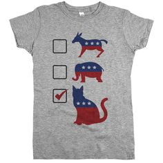 """Does your party platform include leash laws for all dogs? Then you need our """"Vote Cat"""" political tee and let everyone know that your party of choice is Feline! #NorwegianForestCat"""