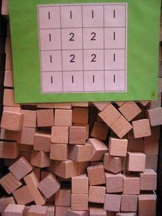 Domein: Meetkunde Onderdeel: Construeren Doel: een bouwwerk bouwen aan de hand van een plattegrond met hoogtegetallen Play Based Learning, Kids Learning, Busy Boxes, Montessori Math, Maths Puzzles, School Items, Math Numbers, Math Classroom, Kindergarten Activities