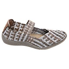 Womens Mary Jane Metallic Woven Elastic Shoes  Silver  Bronze Metallic  Size 39 *** Click on the image for additional details. Note:It is Affiliate Link to Amazon.