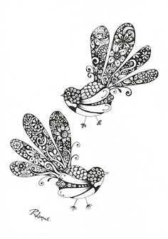 Fancy Fantails / Kiwiana ink illustration by New Zealand Artist Robyn Lamont New Zealand Tattoo, New Zealand Art, Maori Designs, Native Tattoos, School Murals, Nz Art, Maori Art, Kiwiana, Ink Illustrations