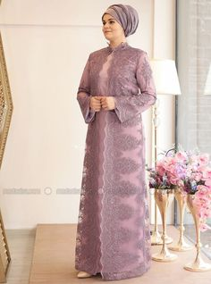 Lilac - Fully Lined - Crew neck - Muslim Plus Size Evening Dress Hijab Evening Dress, Hijab Dress Party, Evening Dresses, Hoco Dresses, Bridesmaid Dresses, Wedding Dresses, Dress Brokat, Kebaya Dress, Kebaya Muslim