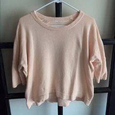 Light pink lululemon crop sweater Light pink lululemon crop sweater. Three quarter sleeves, crew neck, cotton. Worn twice. lululemon athletica Sweaters Crew & Scoop Necks