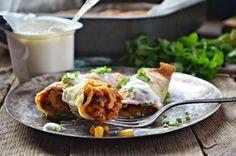 Kuchnia w zieleni: Naleśniki meksykańskie (zapiekane) Baked Pancakes, Dinner Pancakes, Allrecipes, Feta, Tacos, Pizza, Mexican, Cooking, Ethnic Recipes