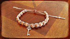 READY TO SHIP  Adjustable Key Charm Macrame by AmbergateApothecary, $7.99 #keybracelet #skeletonkey #macrame #hempbracelet #bracelet #beaded #handmade #natural #ecofriendly #jewelry