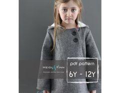 Girly Cardigan jacket sewing pattern 6M 12Y easy por heidiandfinn
