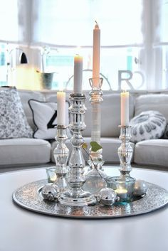 Candlesticks, tray and tealights ~ lovingly repinned by www.skipperwoodhome.co.uk