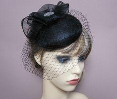 black pillbox hat vintage style formal hat wedding cocktail ascot races funerals